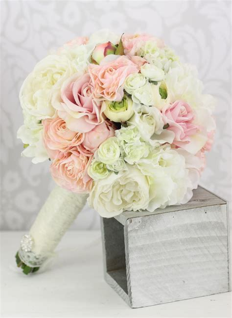 silk bride bouquet peony flowers pink cream spring mix shabby chic wedding decor item number