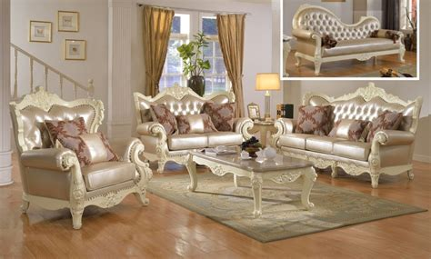 antique white living room furniture traditional living room set w pearl bonded leather and