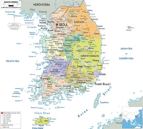 map of the south detailed political map of south korea ezilon maps