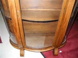 Antique Oak China Cabinet Curio Cupboard Curved Glass Empire Antique Empire Oak Tiger Oak Curio Display Curved Glass