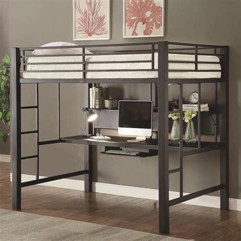coaster twin loft bed with desk coaster bunks workstation full loft bed value city