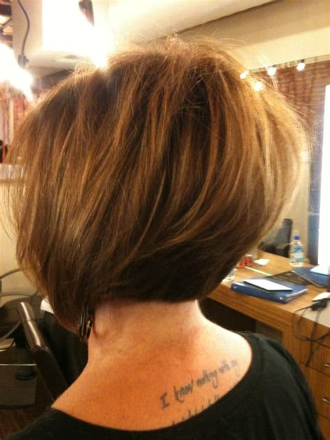 asymetrical ans stacked hairstyles asymmetrical soft graduated bob with color and caramel