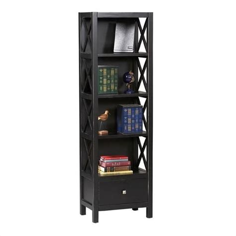 Black Narrow Bookcase Narrow 5 Shelf Bookcase In Antique Black K86102c124