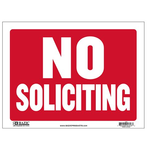 12 quot x 16 quot no soliciting sign