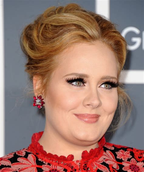 adele long straight formal updo hairstyle copper blonde