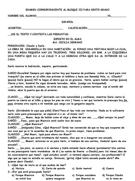 cuestionario de espaol montenegro quinto grado bloque iv examen sexto bloque iii canelo