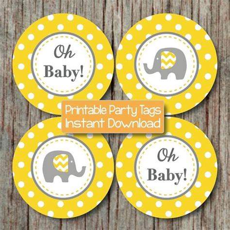 Yellow And Grey Elephant Baby Shower Decorations by Yellow Grey Baby Shower Decorations Elephant Cupcake