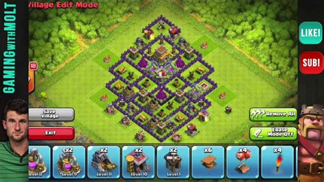 layout coc th8 clash of clans th8 hybrid base design doovi