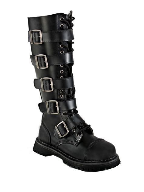 mens knee high combat boots knee high buckle steunk combat lace