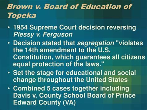 Brown Vs Topeka Essay by Ppt The Civil Rights Movement Powerpoint Presentation Id 5927624