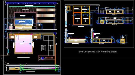 Kitchen Cabinet Layout Tools Master Bed Detail With Wall Panelling Design Dwg Plan N