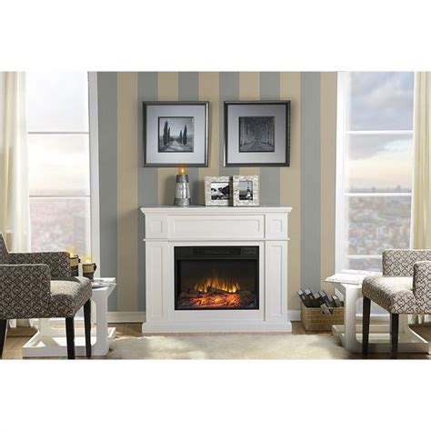41 quot wide electric fireplace mantel in white zcumbria