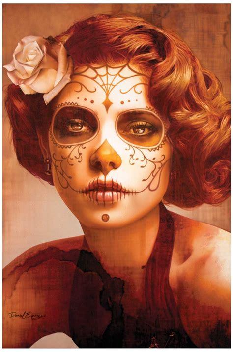 daniel esparza art print sugar skull death mask mexican