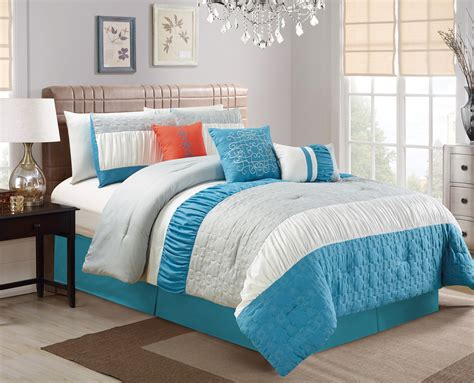 7 piece blue gray embossed comforter set