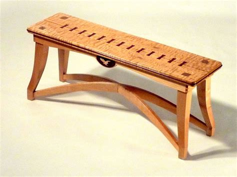 maple bench handmade quilted maple bench by benchmark woodworks