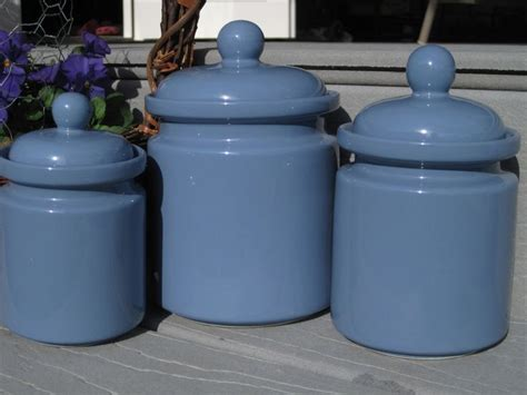 blue kitchen canister sets periwinkle blue canister set 3 canister set