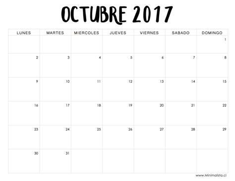 Calendario Octubre 2017 Chile Calendario Octubre 2017 S Octubre
