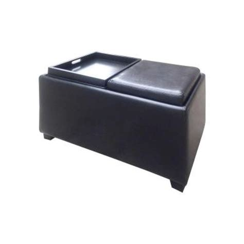 black ottoman with tray home decorators collection brexley double storage leather