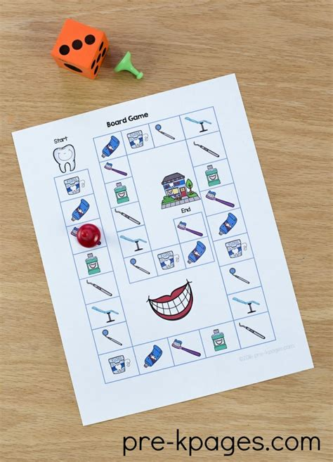 printable health board games dental health theme activities for preschool