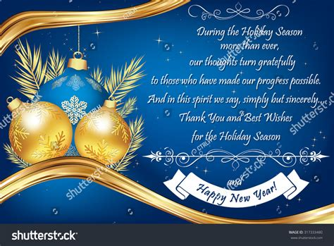 year end messages thank you blue business greeting card stock vector 317333480