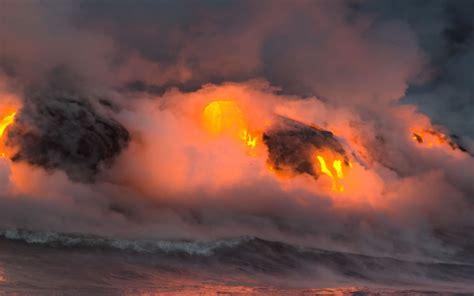 imagenes extraordinarias naturaleza lava sobre el mar wallpapers wallpapers
