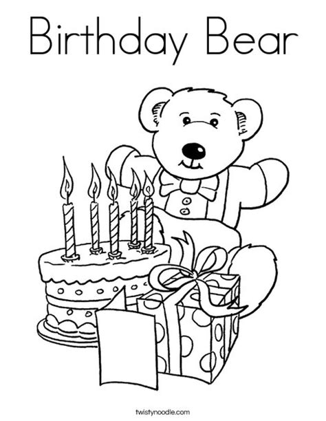 happy birthday bear coloring pages birthday bear coloring page twisty noodle
