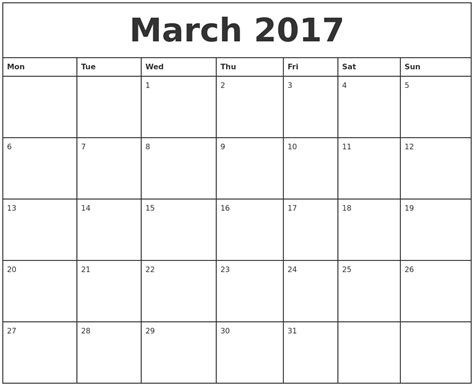 printable monthly calendar march march 2017 printable monthly calendar