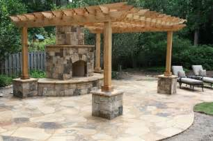Patio World Home Hearth Flagstone Patio With Outdoor Fireplace And Pergola With