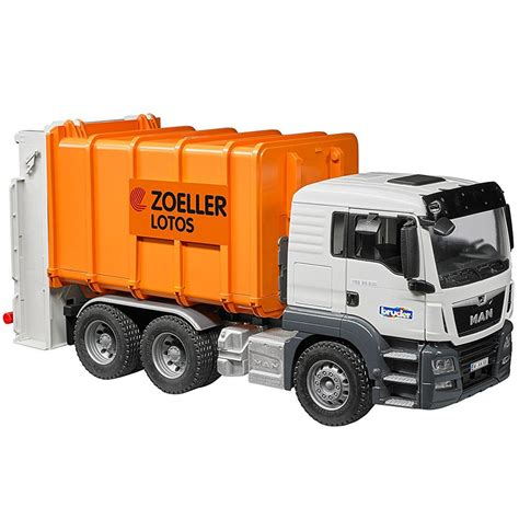 bruder garbage truck bruder man tgs rear loading garbage truck orange