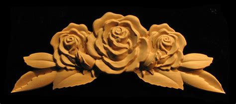 onlay rose  leaves  buds carved wood