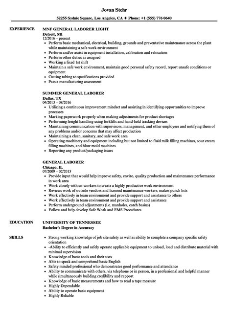 General Laborer Resume by General Laborer Sle Resume Sanitizeuv Sle