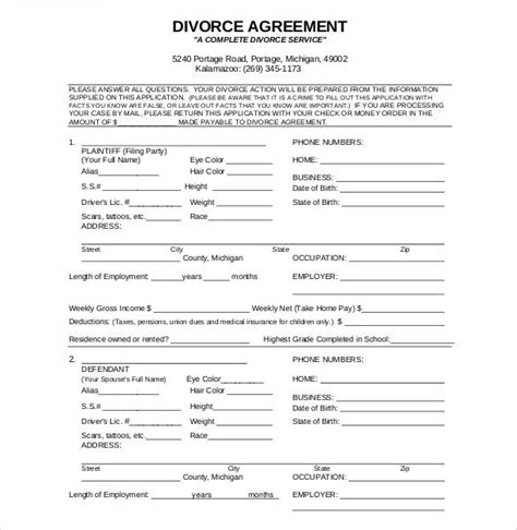 Divorce Agreement Divorce Agreement Template Separation Agreement Template Divorce Separation Papers Template