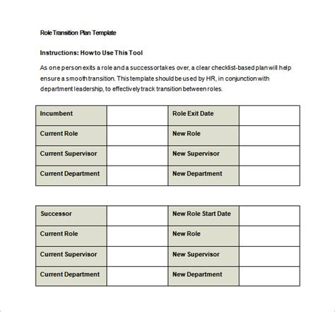 transition plan template 7 free word excel pdf