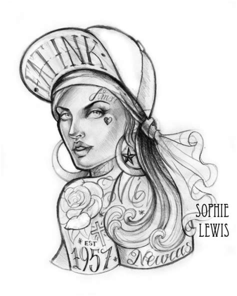 tattoo girl sketch female gangster sketch templates
