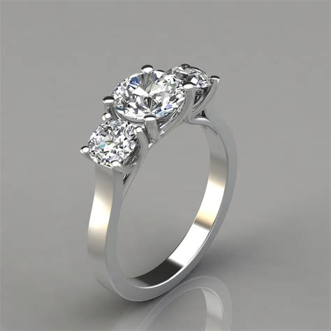 three cross prong cut engagement ring