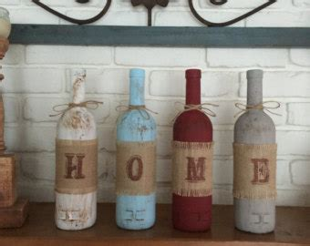 home decor with wine bottles four wine bottle rustic home decor set