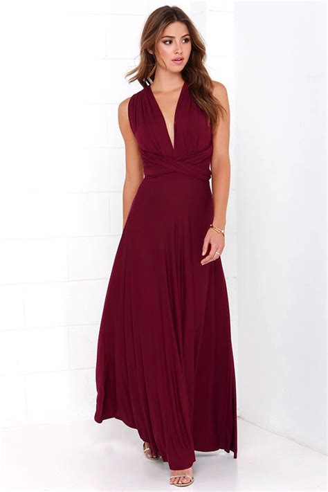 lulu s awesome burgundy dress maxi dress wrap dress 68 00