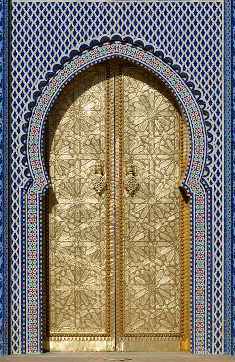 doors of the royal palace big golden doors of the royal palace of fes morocco stock