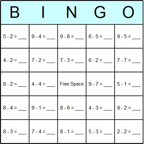 adding fractions card template subtraction 187 subtraction bingo worksheet free math