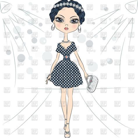 Works 2 B Free Catwalk by Beautiful Fashion Model In Polka Dot Dress On The Catwalk