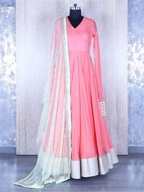 plain pink anarkali suit indian outfits anarkali dress