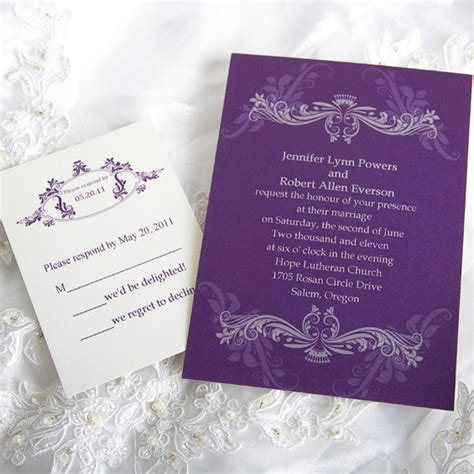 Wedding Invitations Custom by Vintage Purple Damask Custom Wedding Invitation Cards