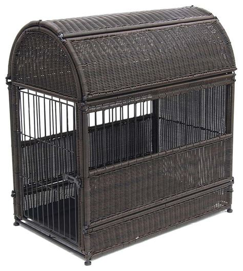 wicker dog house large espresso wicker dog house round top pet supplies by modern furniture warehouse