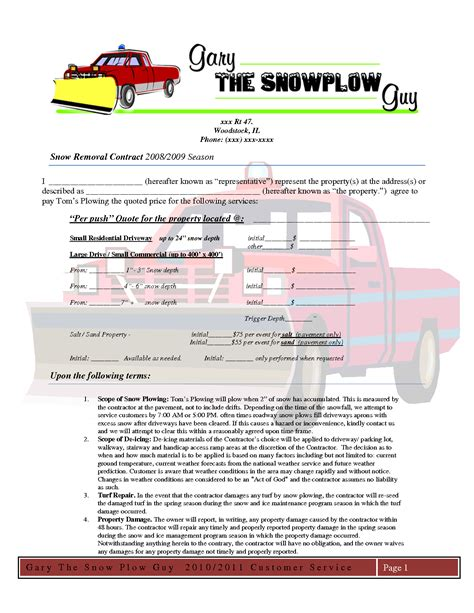 snow removal invoice template doc 585600 snow plowing contract template snow plowing