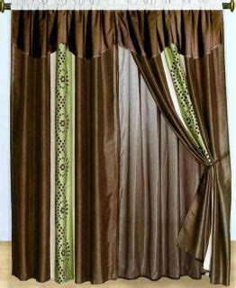 green and brown curtain panels panel grommet faux silk curtains sheer 60x 84 new design