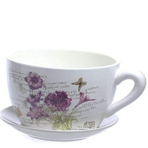Tea Cup And Saucer Planter by Inspired Tea Cup And Saucer Flower Planter Vase
