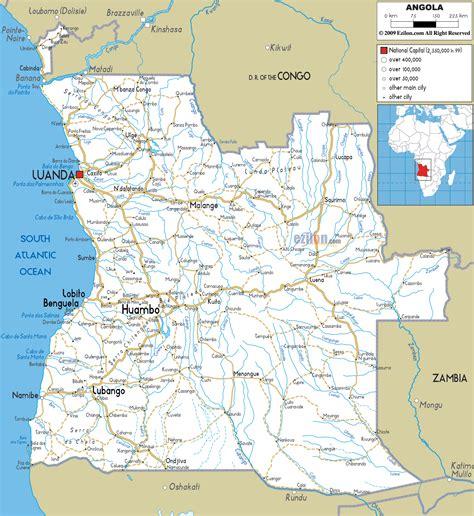 angola map road map of angola ezilon maps