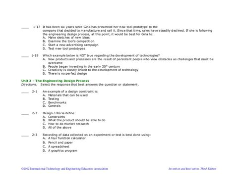 design for manufacturing questions technology design and innovation summative multiple choice