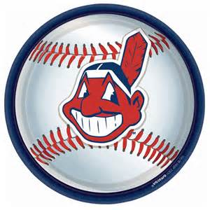 cleveland indians baseball round dinner plates 91661