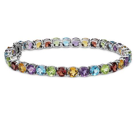 multicolored gemstone bracelet in sterling silver 5mm